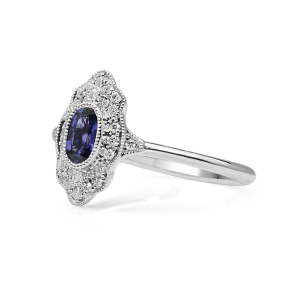18ct White Gold Sapphire and Diamond Deco Style Ring