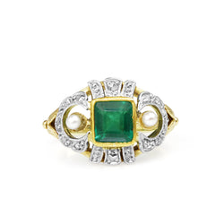 14ct Yellow and White Gold Emerald, Diamond and Pearl Art Deco Ring