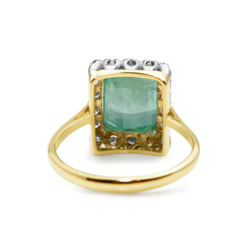 18ct Yellow and White Gold Emerald and Single Cut Diamond Vintage Ring