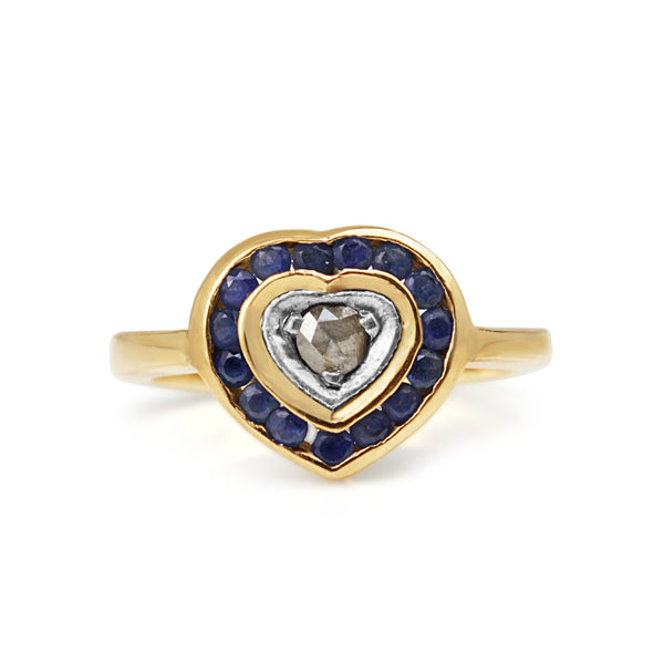 14ct Yellow Gold Sapphire and Rose Cut Diamond Heart Ring