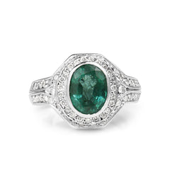 18ct White Gold Natural Emerald and Diamond Halo Ring
