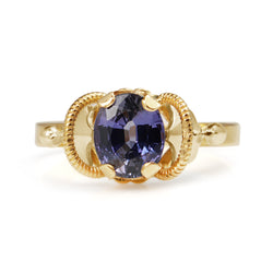 18ct Yellow Gold Purple Sapphire Vintage Ring