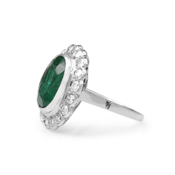 Platinum Art Deco Emerald and Old Cut Diamond Daisy Ring