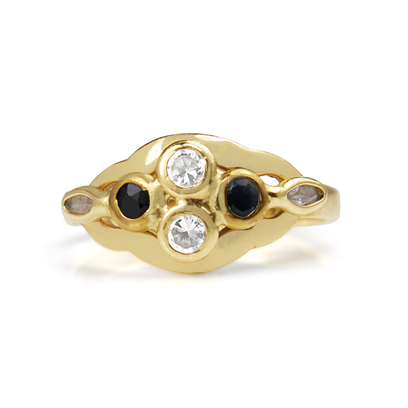 14ct Yellow Gold Sapphire and C/Z Ring