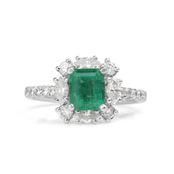 18ct White Gold Emerald and Diamond Halo Ring