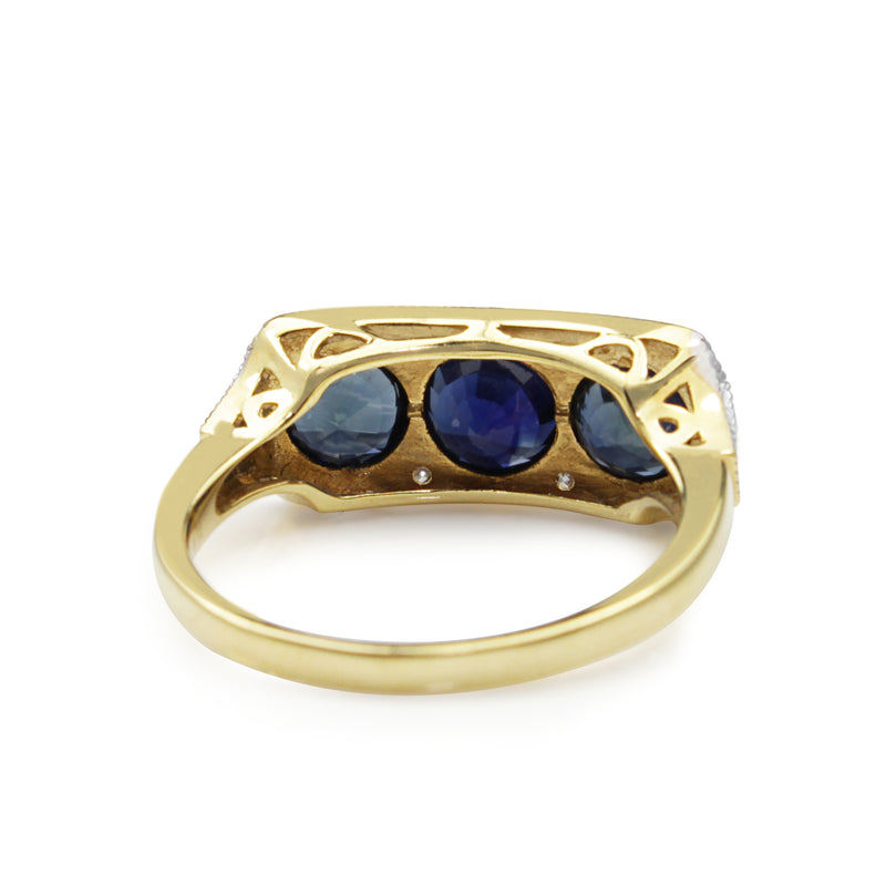 18ct Yellow and White Gold 3 Sapphire and Diamond Ring