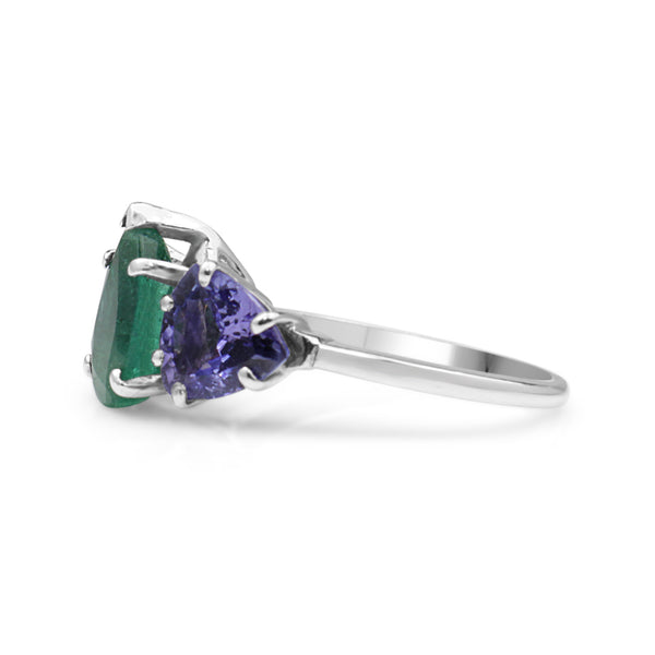 Platinum Emerald and Tanzanite 3 Stone Ring