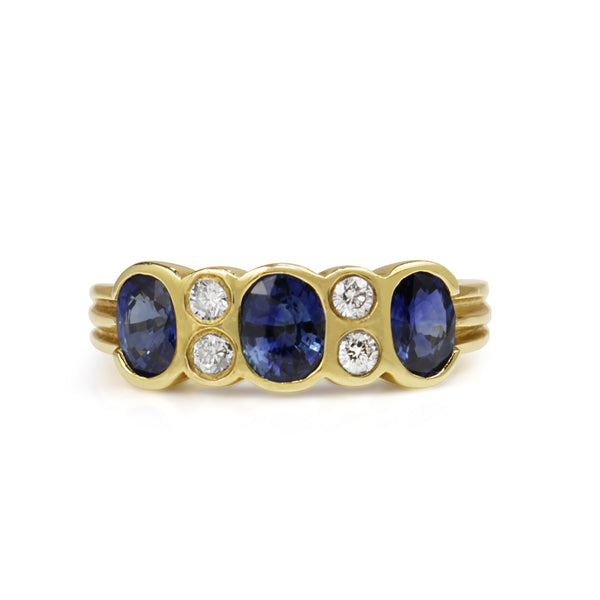 9ct Yellow Gold Sapphire and Diamond 3 Stone Ring