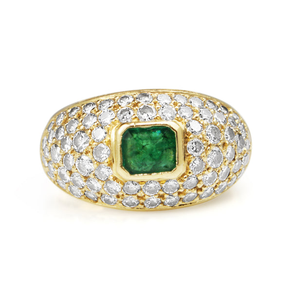 18ct Yellow Gold Emerald and Diamond Vintage Cluster Ring