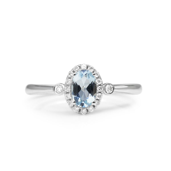 9ct White Gold Aquamarine and Diamond Halo Ring