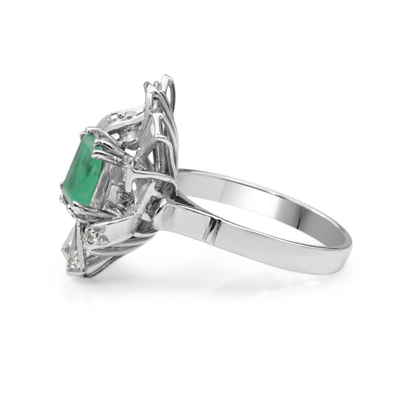 Palladium Emerald and Diamond Vintage Ring