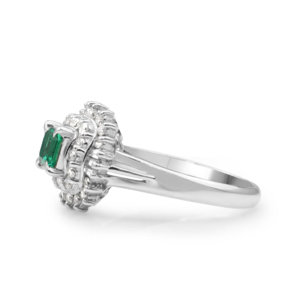 Platinum Emerald and Diamond Vintage Ring