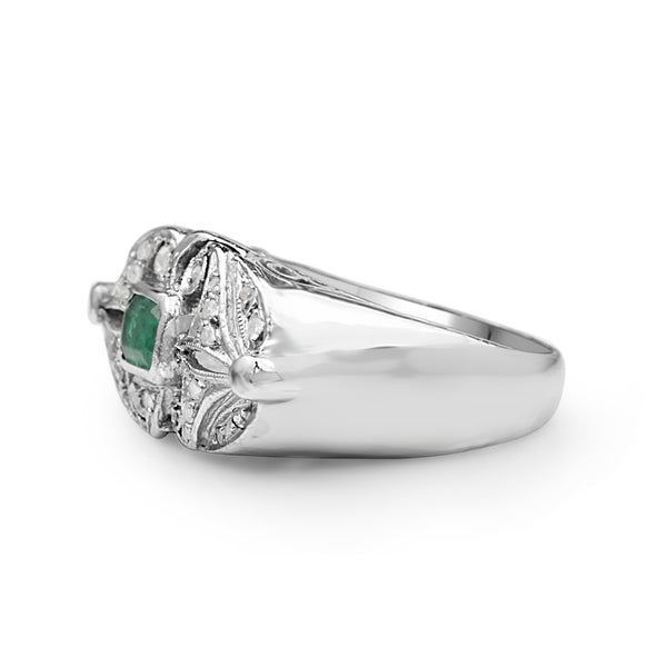 Palladium Emerald and Diamond Art Deco Ring