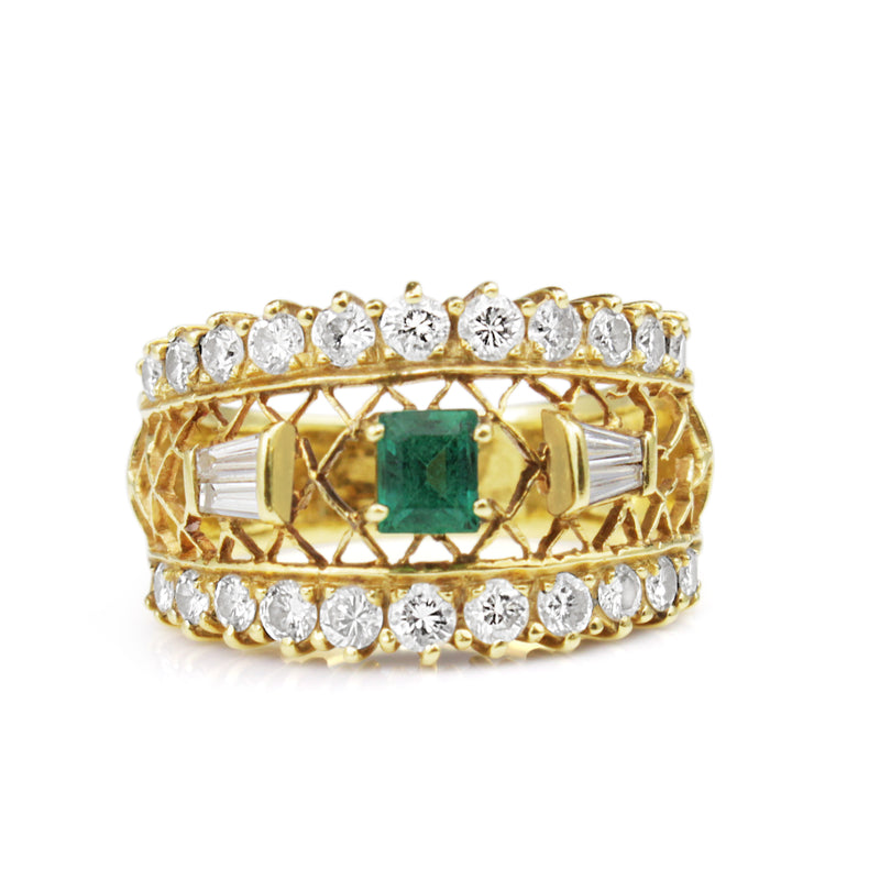 18ct Yellow Gold Vintage Emerald and Diamond Ring