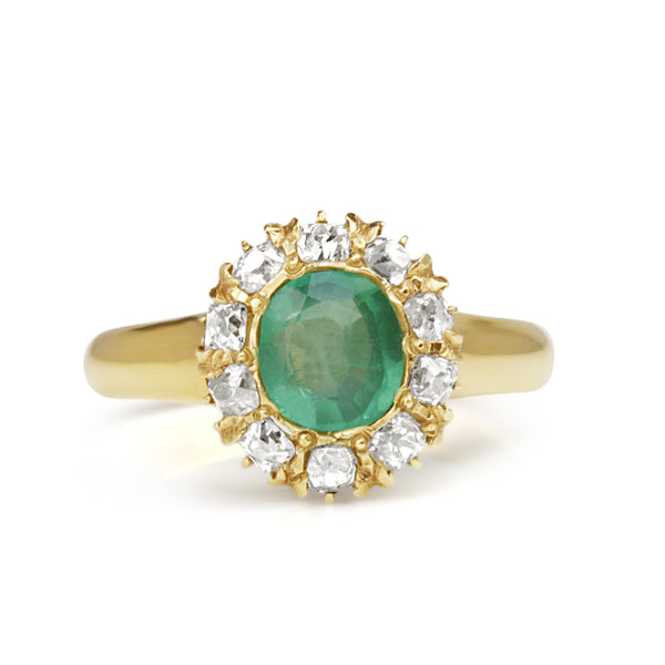 18ct Yellow Gold Emerald and Diamond Antique Ring