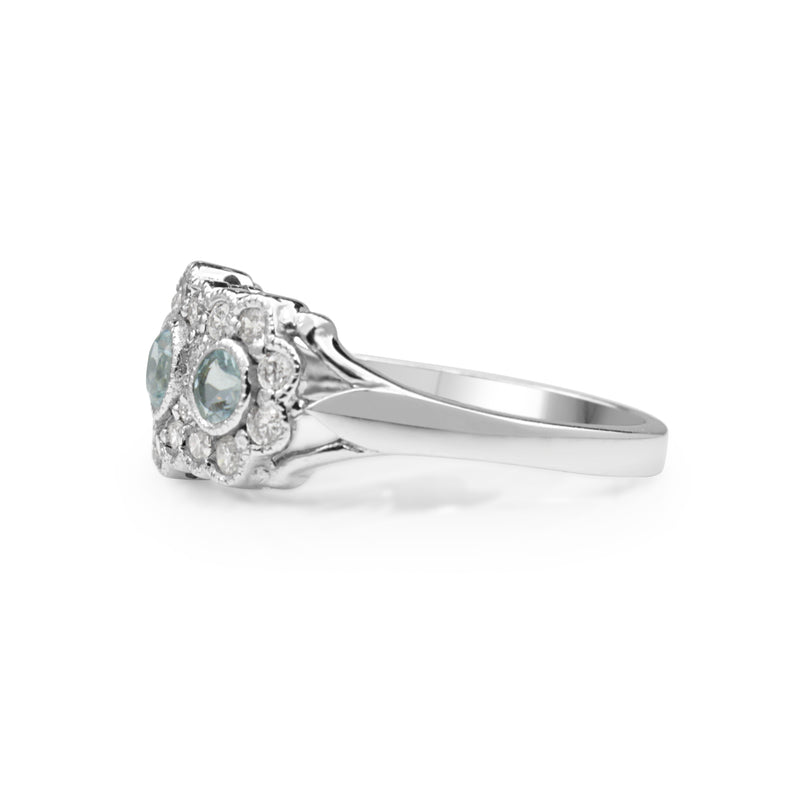 9ct White Gold Topaz and Diamond Floral Halo Ring
