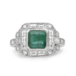 18ct White Gold Emerald and Diamond Ring