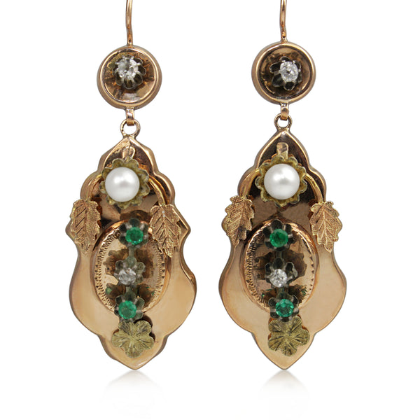 15ct Yellow Gold Antique Emerald, Diamond and Pearl Drop Earrings