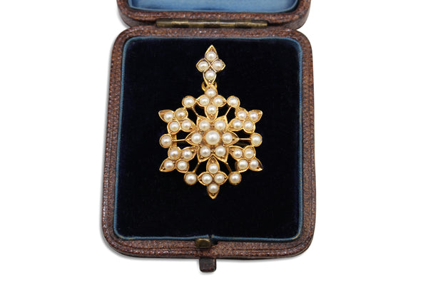 18ct Yellow Gold Antique Boxed Pearl Pendant and Brooch