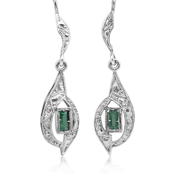 18ct White Gold Art Deco Emerald Earrings