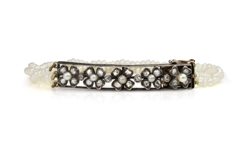 9ct Gold Rose Cut Diamond and Seed Pearl Floral Antique Bracelet