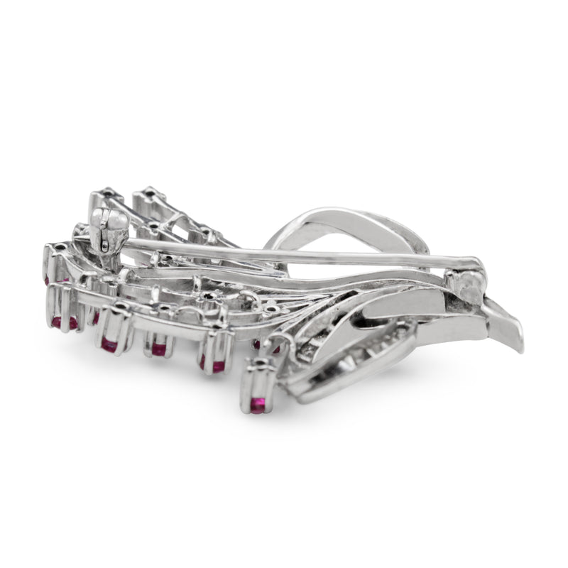 Palladium Ruby and Diamond Art Deco Brooch