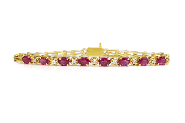 18ct Yellow Gold Ruby and Diamond Bracelet