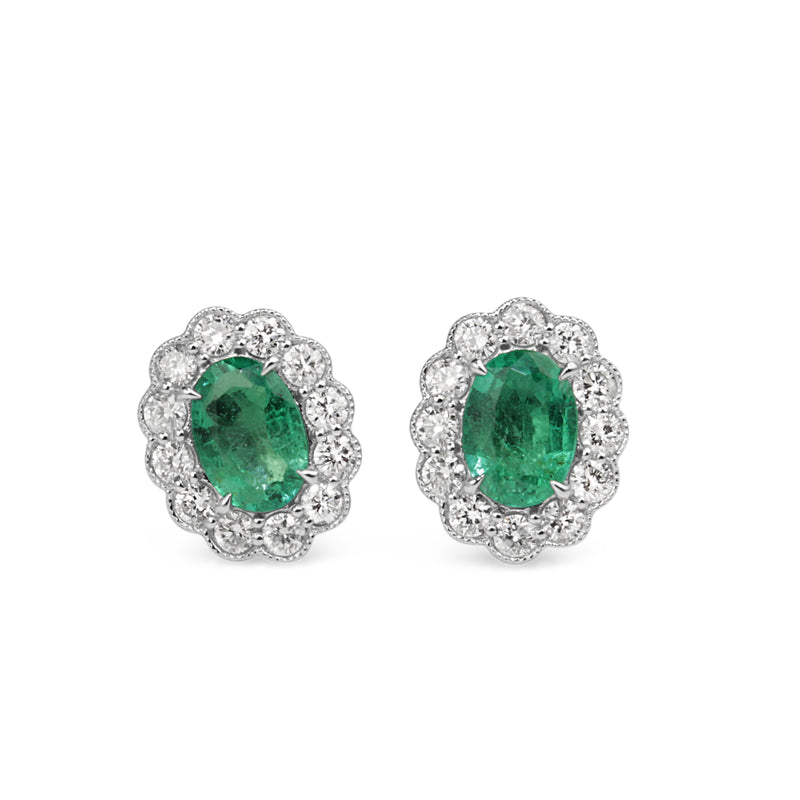 18ct White Gold Emerald and Diamond Daisy Style Stud Earrings