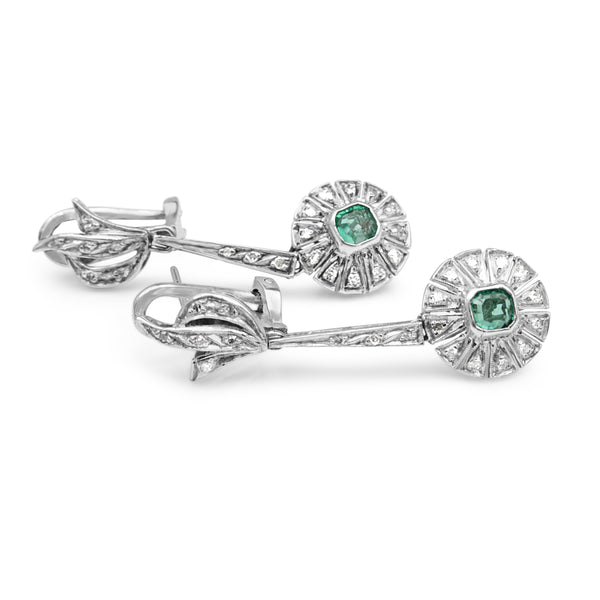 Palladium Art Deco Emerald and Diamond Drop Earrings
