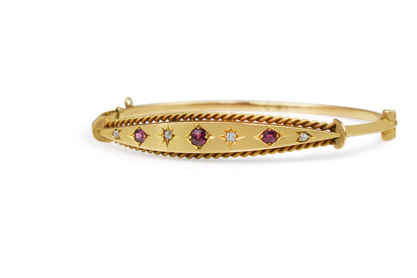 9ct Rose Gold Antique Ruby and Old Cut Diamond Bangle