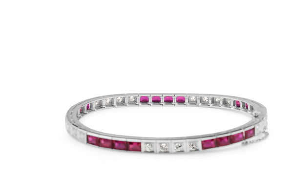 14ct White Gold Synthetic Ruby and Diamond Bracelet