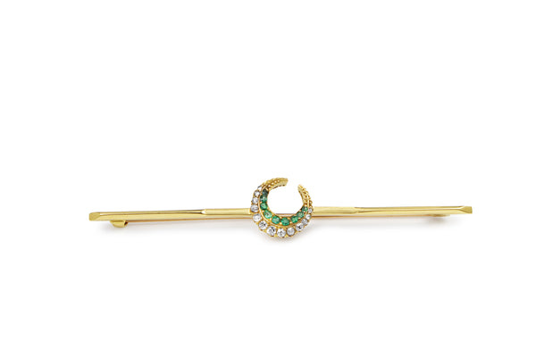 18ct Yellow Gold Antique Emerald and Old Cut Diamond Crescent Brooch