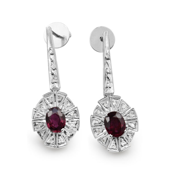 Palladium Ruby and Diamond Art Deco Earrings