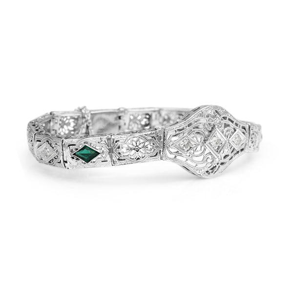 10ct White Gold Synthetic Emerald and Old Cut Diamond Art Deco Bracelet