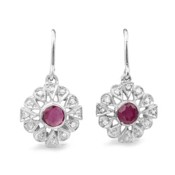 Palladium Art Deco Ruby and Diamond Earrings