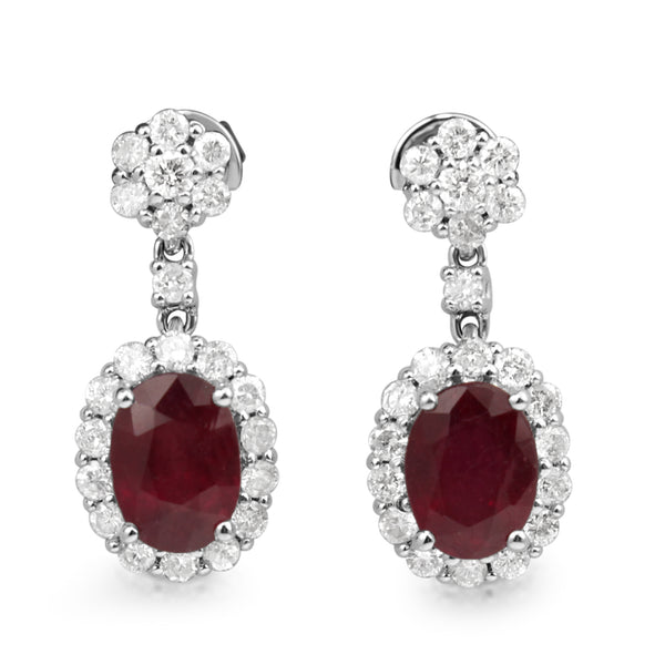 18ct White Gold Treated Ruby and Diamond Earrings