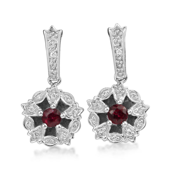 14ct White Gold Ruby and Diamond Earrings