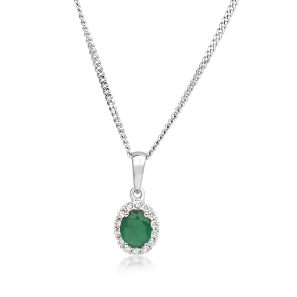 9ct White Gold Emerald and Diamond Halo Necklace
