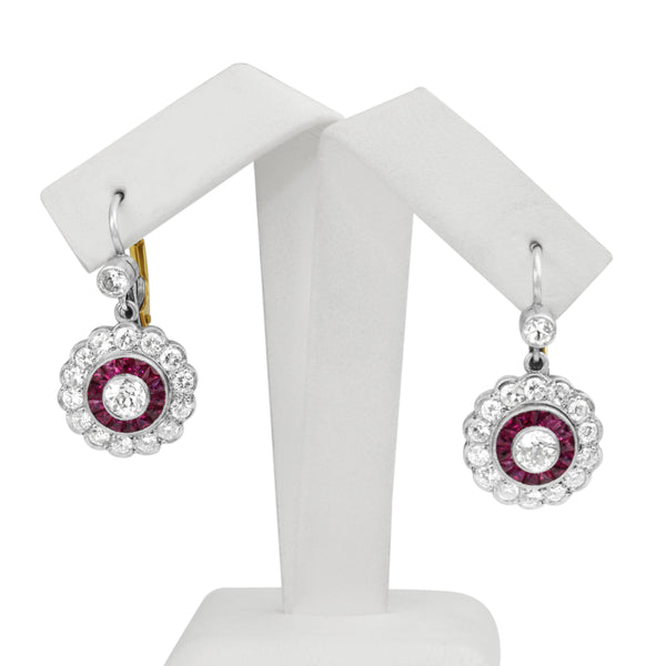 18ct Yellow Gold and Platinum Ruby and Diamond Earrings