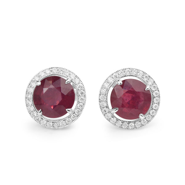 18ct White Gold Treated Ruby and Diamond Halo Earrings