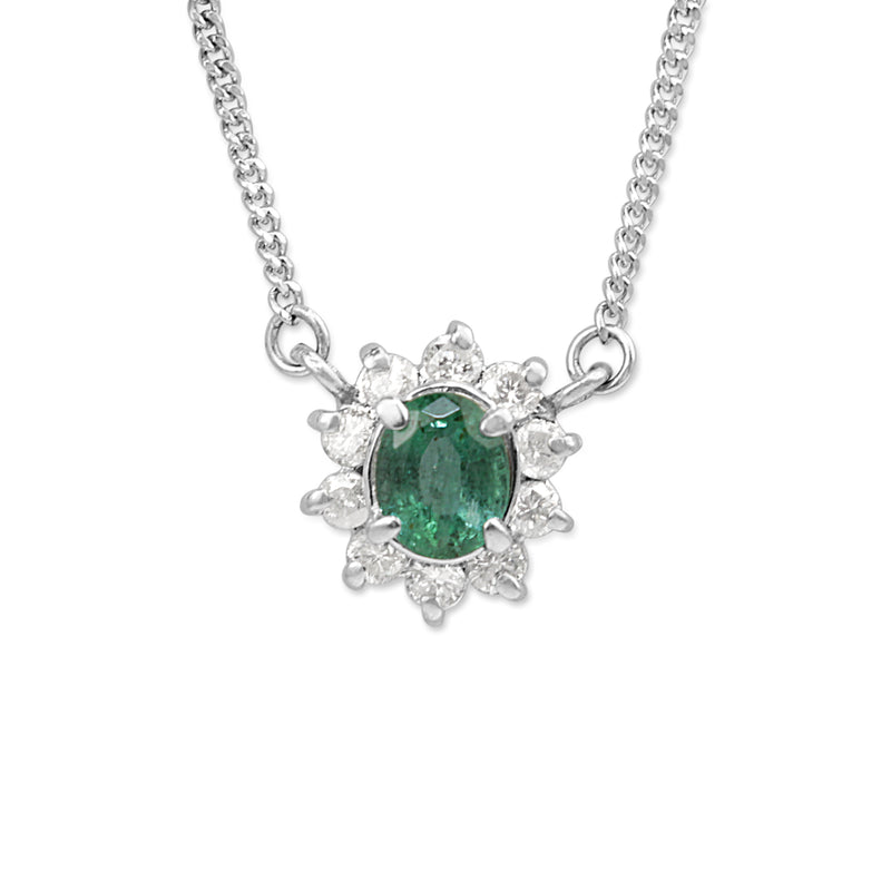 Platinum Vintage Emerald and Diamond Pendant