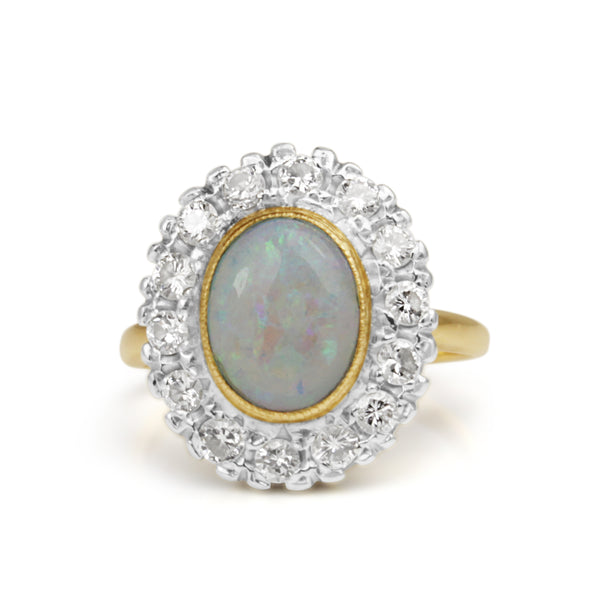 14ct Yellow and White Gold Opal and Diamond Vintage Halo Ring