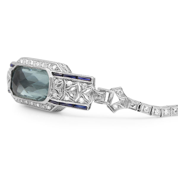 Platinum and Palladium Art Deco Aquamarine, Sapphire and Single Cut Diamond Bracelet