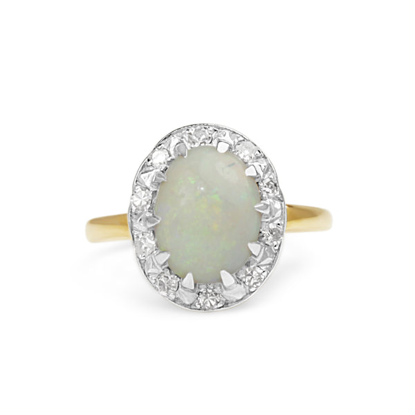 14ct Yellow and White Gold Opal and Diamond Vintage Ring
