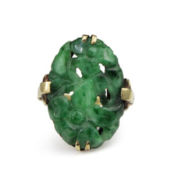 14ct Yellow Gold Vintage Jade Ring