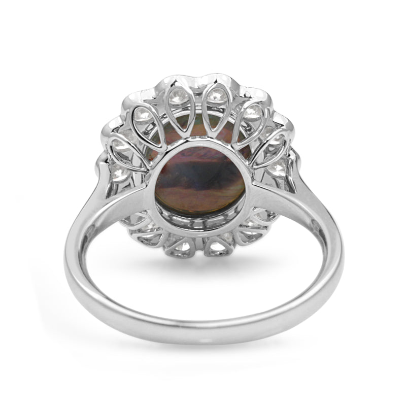 18ct White Gold Black Opal and Diamond Daisy Ring