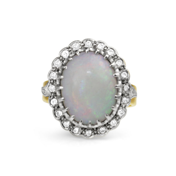 18ct Yellow and White Gold Opal and Diamond Vintage Ring
