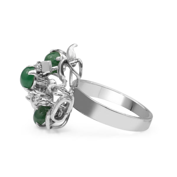 14ct White Gold Vintage Jade and Diamond Ring