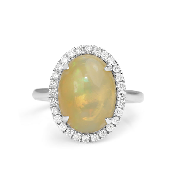 14ct White Gold Opal and Diamond Halo Ring