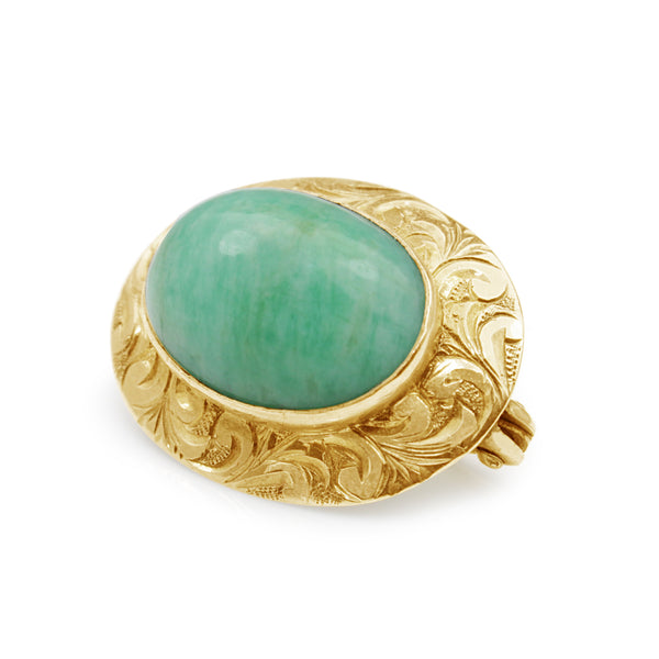 10ct Yellow Gold Jade Brooch